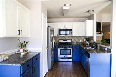 diy blue white kitchen cabinets love renovations