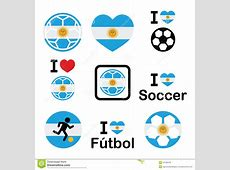 I Love Argentine Football, Soccer Icons Set Stock