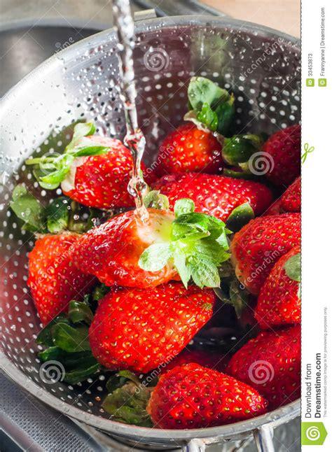 water washing  strawberries stock  image