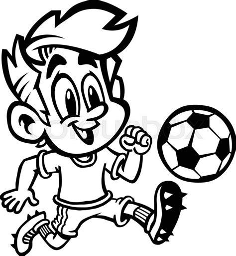 cartoon boy kid playing football  soccer   green  shirt  cleat shoes stock vector