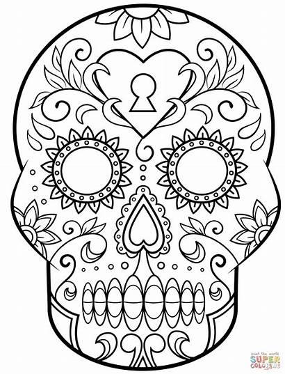 Coloring Dead Skull Sugar Pages Printable Muertos