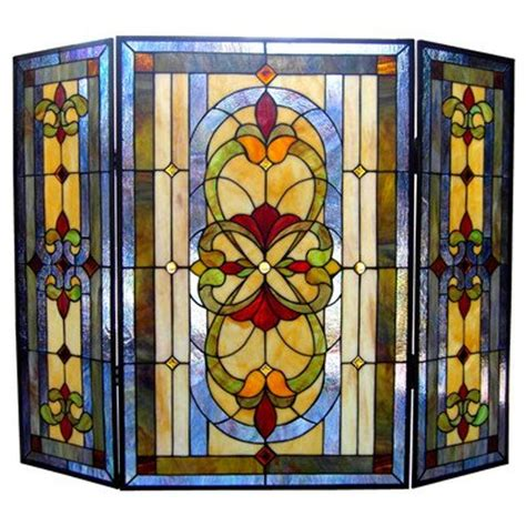 stained glass fireplace screen stained glass fireplace screen bronze finish