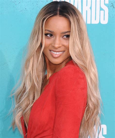ciara long wavy light champagne blonde hairstyle