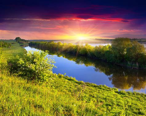 Scenery Rivers Sunrises And Sunsets Grass Nature Wallpaper