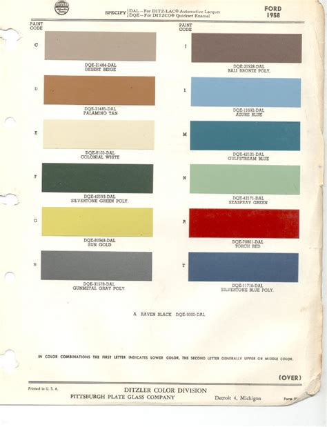 ford color code chart pictures to pin on pinsdaddy