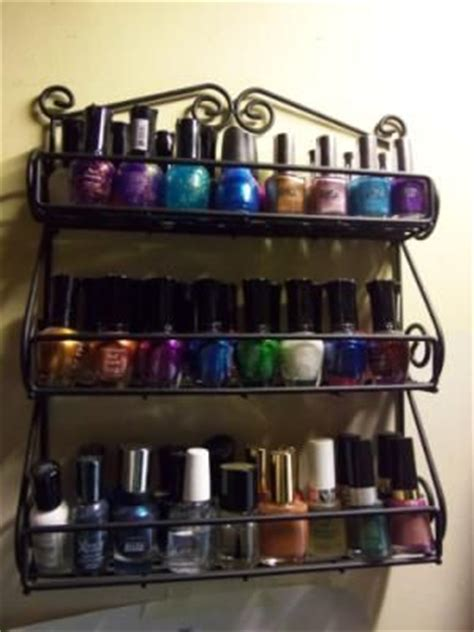 nail rack walmart black metal wall mount and spices on