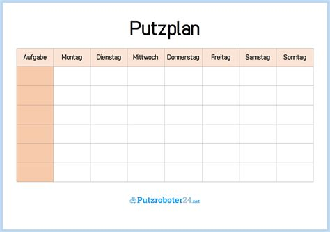 putzplan wochenplan mit aufgaben putzplan vorlagen