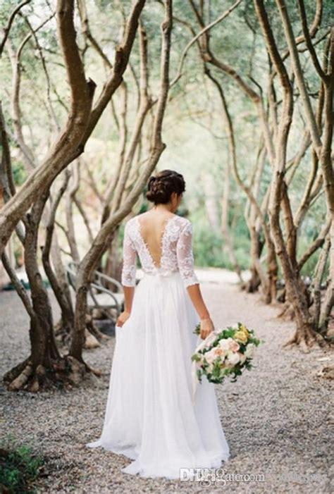 spring boho sheath wedding dress  sheer long