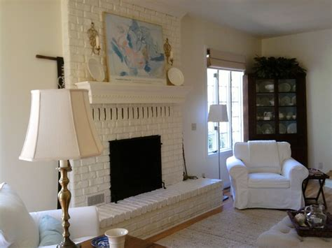living room painted brick fireplace eclectic living
