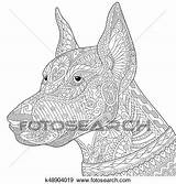Doberman Pinscher Dog Zentangle Clip Coloring Fotosearch Stylized Drawing Adult Freehand Antistress Sketch sketch template