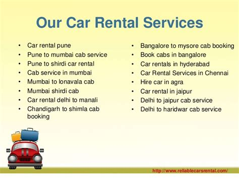 Service Rental by Car Rental Services In India
