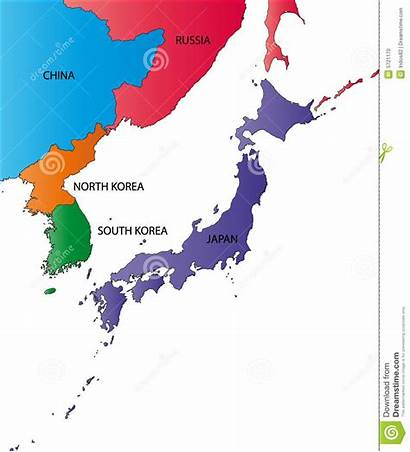 Japan Kaart Korea Map Japon Kleur China