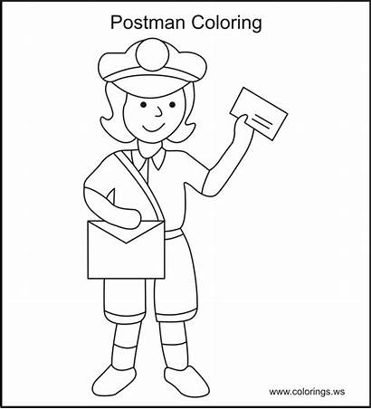 Coloring Mailman Office Helpers Mail Community Colorings