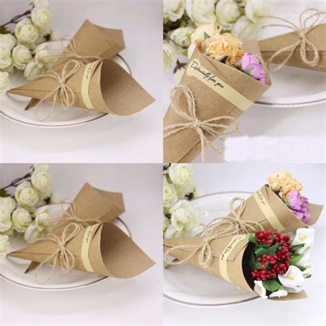 wedding favors flower cones holder ice cream style diy