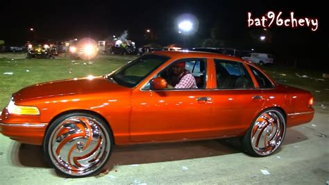 candy orange ford crown vic   dub hurricayne floaters