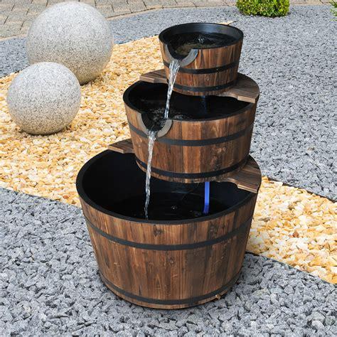 outsunny wooden water pump fountain cascading feature barrel  tier garden deck ebay