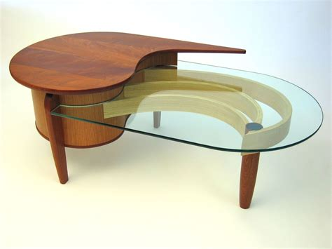 Hand Crafted Mahogany, Cherry And Glass Coffee Table By