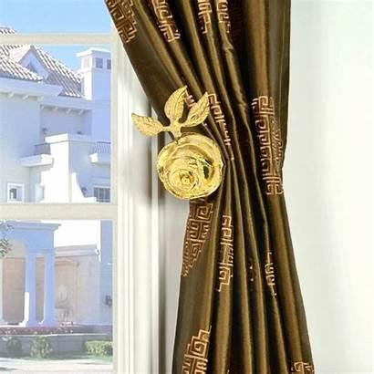 Curtain Holder Bronze Rose Pair Holders Tm