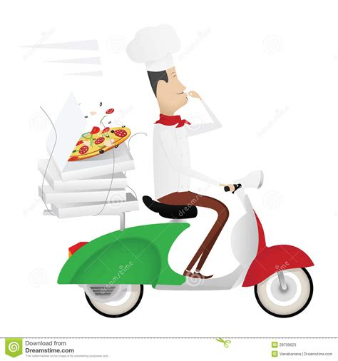 funny italian chef delivering pizza   moped stock