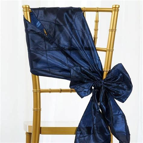 navy blue pintuck chair sash efavormart