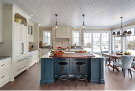 Farmhouse Kitchen With Blue Island This Elegant Farmhouse Kitchen Kitchen Design Interior Design Ideas Style Homes Rooms Furniture Kitchen Island Furniture Designs Farmhouse Kitchen Island High If You Choose A Copper Farmhouse Kitchen Sink It Would Definitely