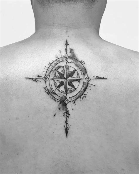 Grey Watercolor Compass Tattoo | Best Tattoo Ideas Gallery