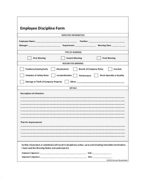 employee discipline form template free employee discipline form 6 free word pdf documents free premium templates