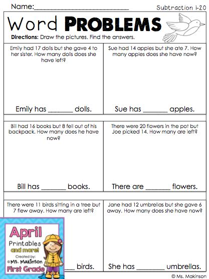 These include situations of adding to, taking away, comparing, and missing a. First Grade Subtraction Word Problems - Spring Math ...
