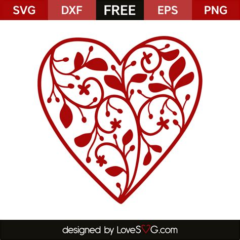 All designs are welded or grouped for easier handling. Floral heart | Lovesvg.com
