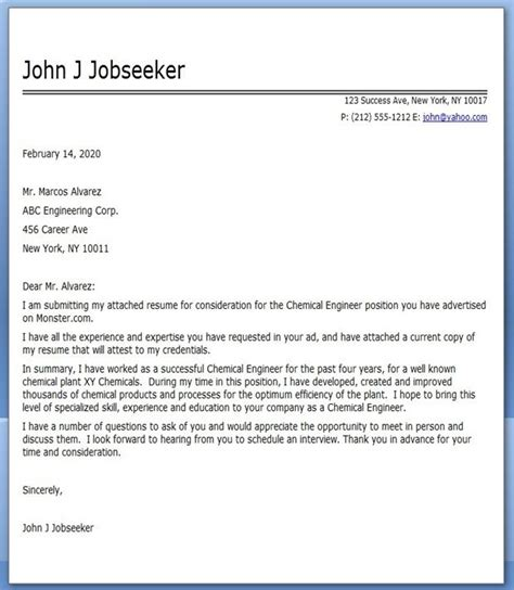 chemical engineering cover letter creative resume design