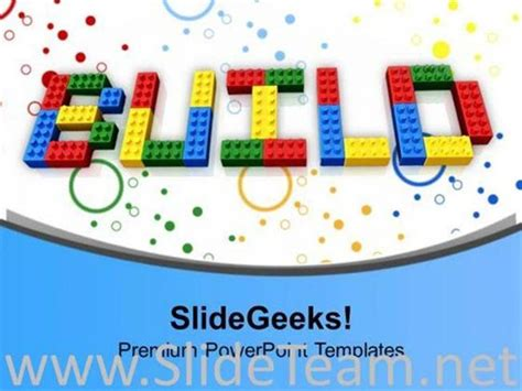 word build written  lego blocks powerpoint template