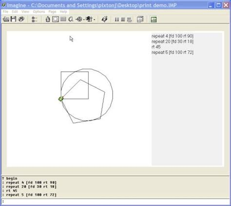 logotron imagine printing graphics and turtle commands