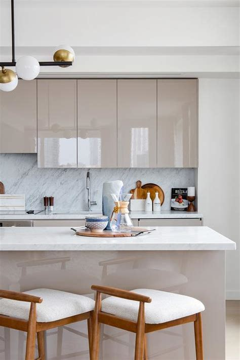 taupe cabinets transitional kitchen peter block