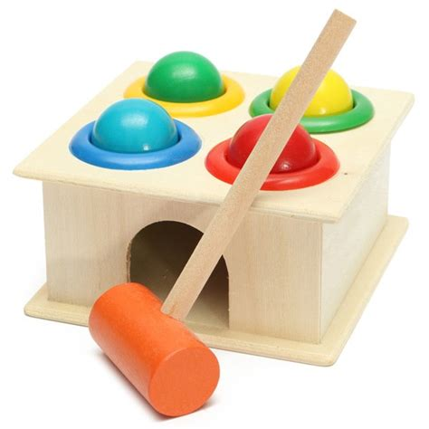 baby kids children wooden knock hammering ball early
