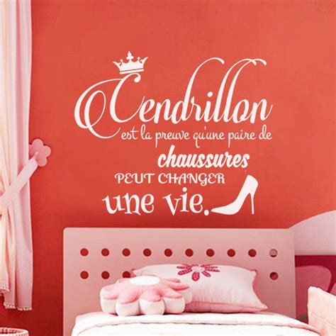 sticker citation cendrillon stickers chambre ado fille