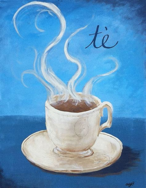 Tea Cup  11x14 Custom Original Kitchen Painting On Canvas