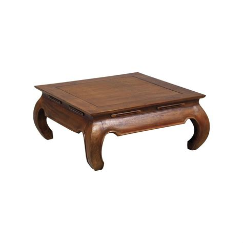 canapé colonial table basse opium en teck 80 cm