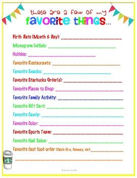 my favorite things list template favorite things form by conklin teachers pay teachers