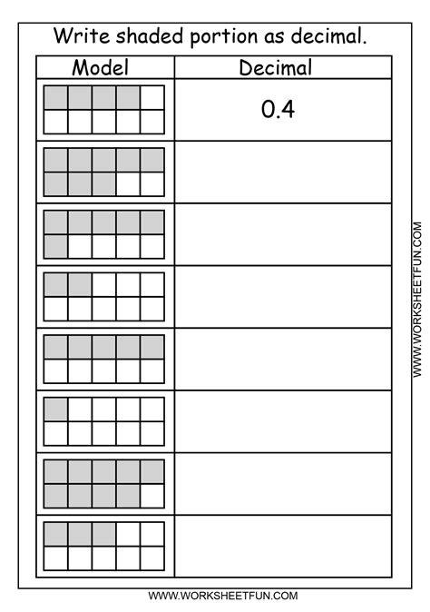 decimal model tenths  worksheets  printable