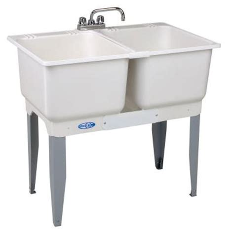 home depot laundry sink mustee 36 in x 34 in plastic laundry tub 22c the home