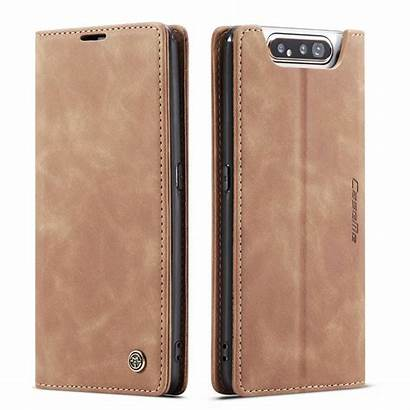 Samsung Galaxy A80 Flip Caseme Ljusbrun Fodral