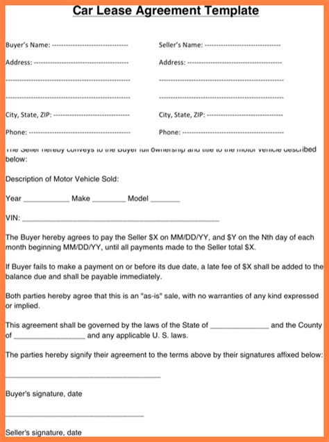 commercial vehicle lease agreement template purchase