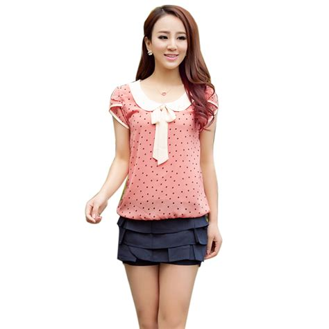 blouse with bow collar chiffon dot blouse bow collar