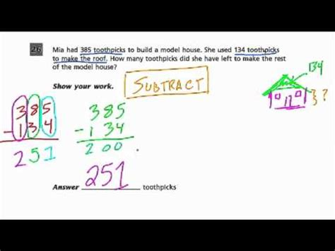 subtraction grade  common core standards youtube