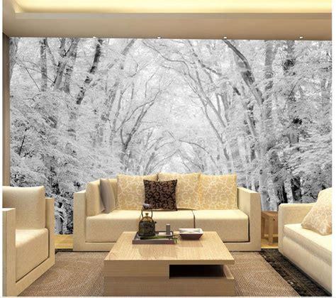 landscape wallpaper mural  wallpaper woods snow scene