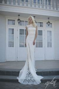 lace wedding dress ivory wedding dress crepe and lace With crepe wedding dress