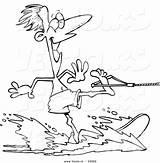 Water Skiing Cartoon Coloring Outline Vector Guy Leishman Waterskiing Toonaday Ron Vecto Rs sketch template