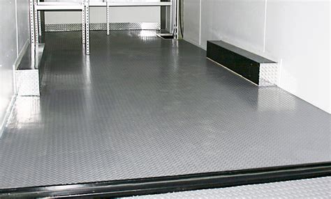 Unique bottom groove design allows moisture to dissipate and dry out; Trailer Flooring Seamless Coin / Diamond PVC Rolls