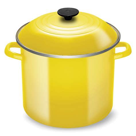 le creuset enameled steel stock pot  quart soleil cutlery