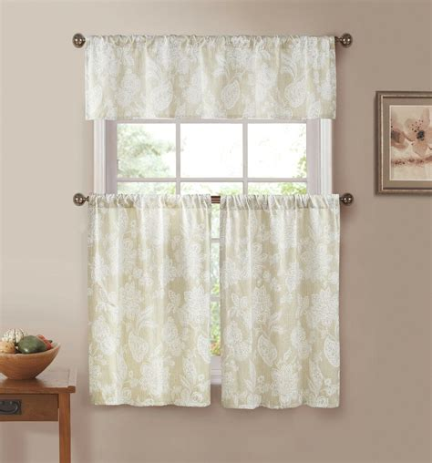 ivory  white floral print country kitchen curtains ebay
